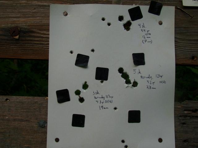 Her ser vi at 54gr gav best samling. De små hullene kommer fra salongskyting.