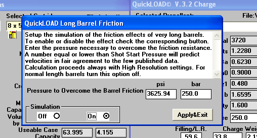 Jeg setter på long barrel friction til 250 bar.